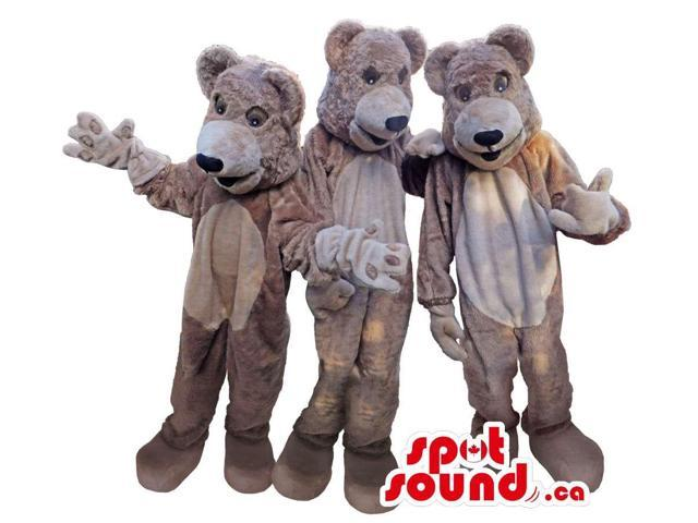 Three Beige Bear Character Plush Canadian SpotSound Mascots With Large Heads