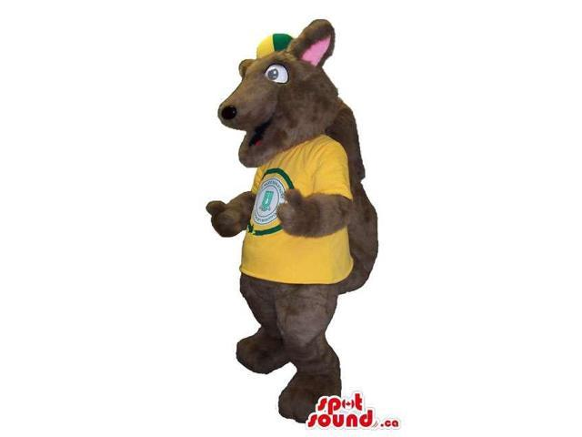Cute Dark Brown Squirrel Plush Canadian SpotSound Mascot With Yellow T-Shirt