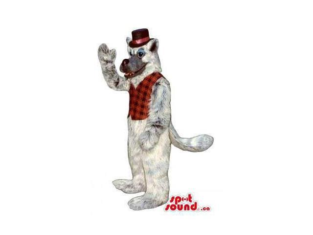 Light Grey Wolf Plush Animal Canadian SpotSound Mascot Dressed In A Red Vest And Top Hat