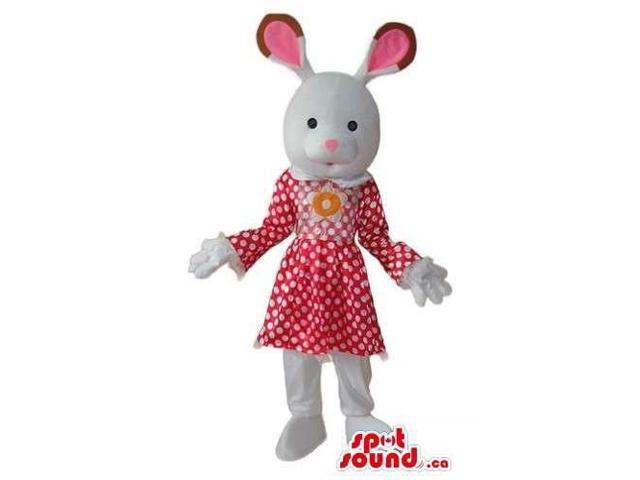 White Cute Girl Bunny Canadian SpotSound Mascot Dressed In A Dress With Dots