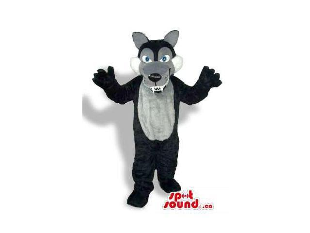 Black Wolf Plush Canadian SpotSound Mascot With A Grey Belly And Sharp Teeth