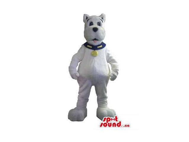 All White Dog Animal Canadian SpotSound Mascot Dressed In A Collar And Name Tag