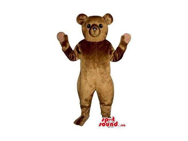 Standard Cute All Brown Teddy Bear Canadian SpotSound Mascot With No Mouth