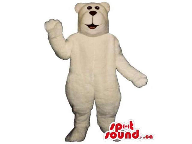 All White Polar Bear Canadian SpotSound Mascot With Squared Head
