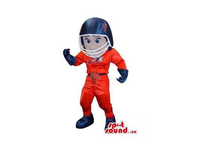 Human Canadian SpotSound Mascot Dressed In Red And Blue American Football Clothes