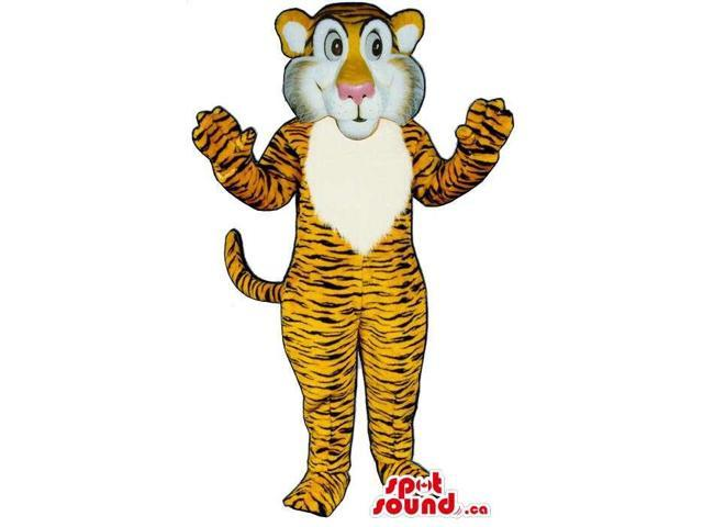 Orange Tiger Plush Animal Canadian SpotSound Mascot With Unusual Face
