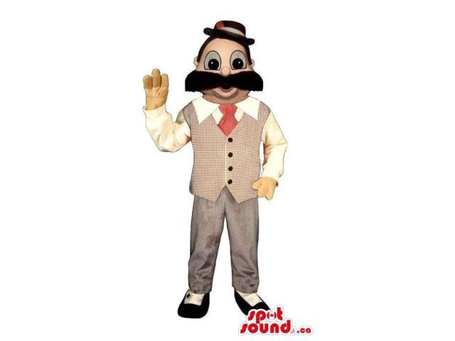 Human Canadian SpotSound Mascot With A Moustache Dressed In Banker Clothes