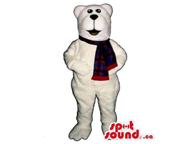 All White Polar Bear Canadian SpotSound Mascot With Squared Head Dressed In A Scarf