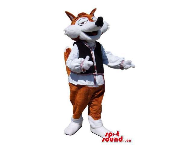 Brown And White Fox Animal Canadian SpotSound Mascot Dressed In Folk Gear