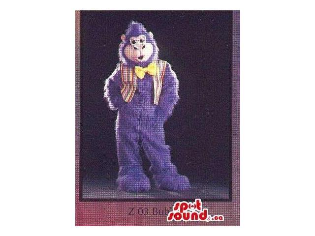 Purple Chimpanzee Plush Canadian SpotSound Mascot Dressed In A Vest And Bow Tie