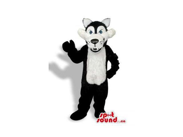 Black Wolf Plush Canadian SpotSound Mascot With A White Belly And Sharp Teeth