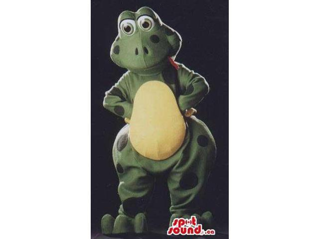 Frog Plush Canadian SpotSound Mascot With A Large Yellow Belly And Red Tongue