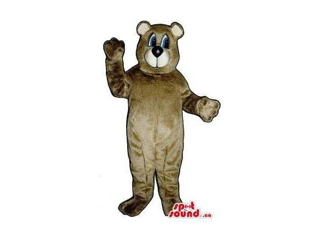 All Brown Bear Forest Plush Canadian SpotSound Mascot With Blue Eyes And Beige Mouth
