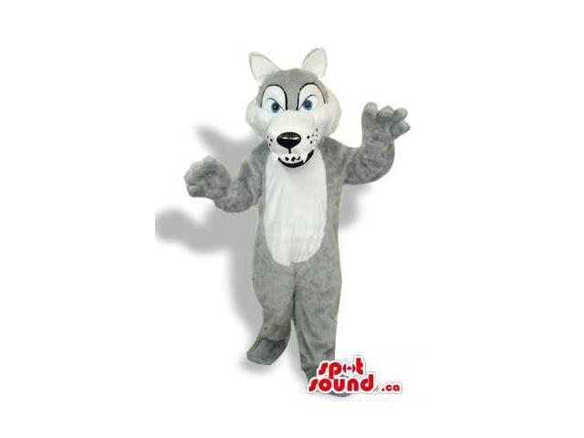 Grey Wolf Plush Canadian SpotSound Mascot With A White Belly And Sharp Teeth