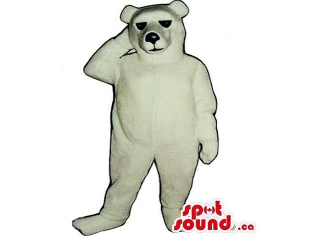 All White Polar Bear Canadian SpotSound Mascot With Black Eyes And Nose