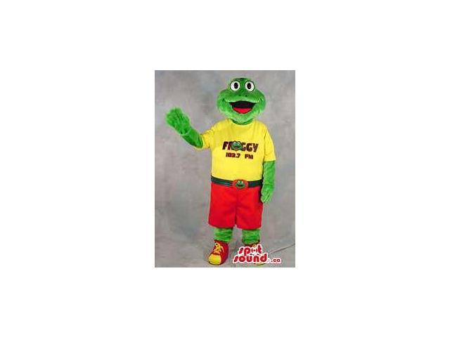 Green Frog Plush Canadian SpotSound Mascot Dressed In A Yellow T-Shirt With Text