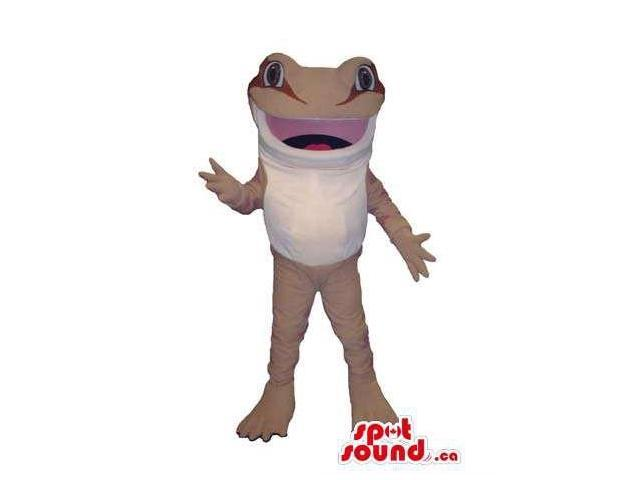 Customised Frog Animal Canadian SpotSound Mascot In White And Beige