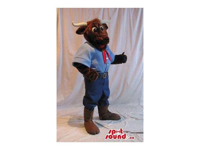 Brown Bull Animal Canadian SpotSound Mascot Dressed In Countryside Clothes