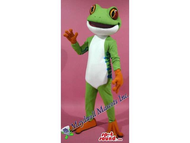 Green Frog Plush Canadian SpotSound Mascot With A White Belly And Red Eyes