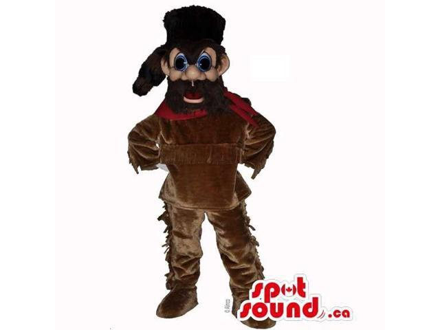 Davy Crockett Character Canadian SpotSound Mascot Dressed In A Raccoon Hat