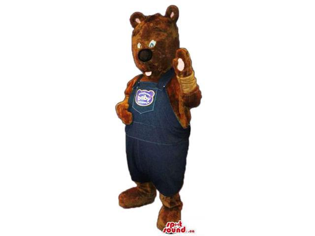 Dark Brown Teddy Bear Canadian SpotSound Mascot Dressed In Overalls With Text