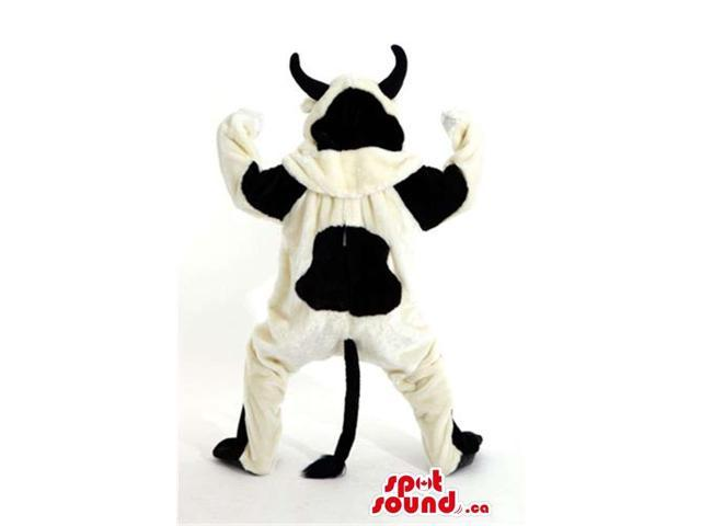 Customised Black And White Cow Animal Canadian SpotSound Mascot With Black Horns