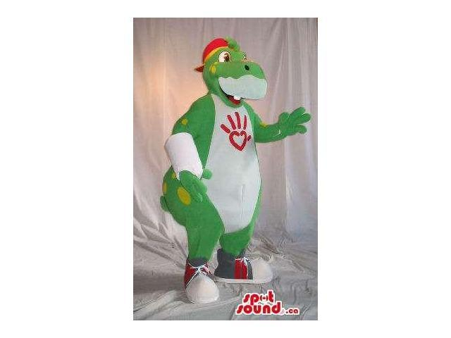 Customised Green And White Dinosaur Plush Canadian SpotSound Mascot With A Cap