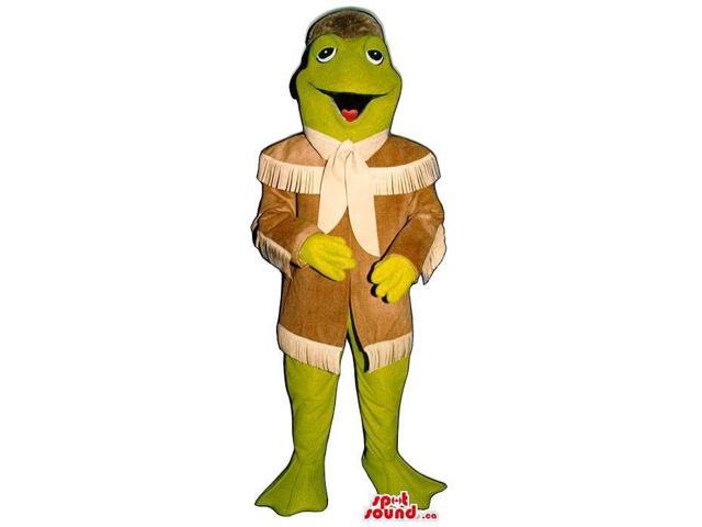 Green Frog Plush Canadian SpotSound Mascot Dressed In Davy Crockett Brown Clothes