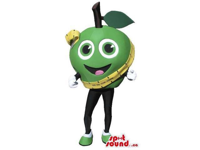 Green Apple Fruit Plush Canadian SpotSound Mascot With Peculiar Face And Metric Tape