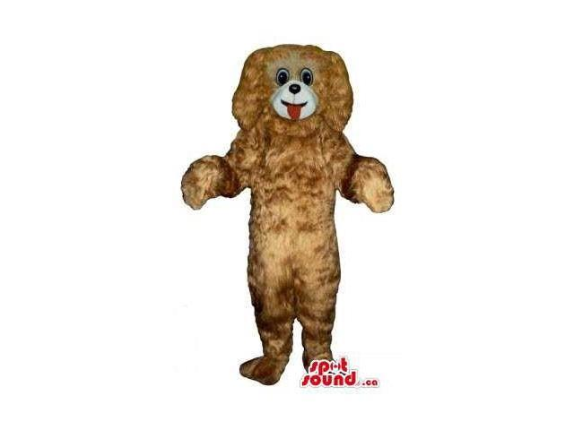 All Brown Plush Dog Canadian SpotSound Mascot With White Mouth And Red Tongue