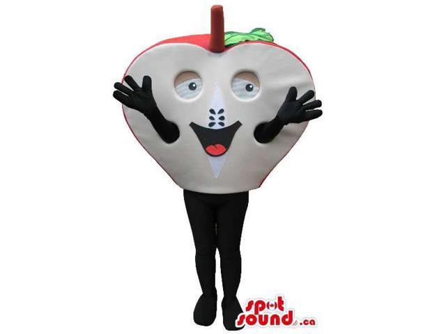 Half Apple Fruit Plush Canadian SpotSound Mascot With A Peculiar Face And Hands