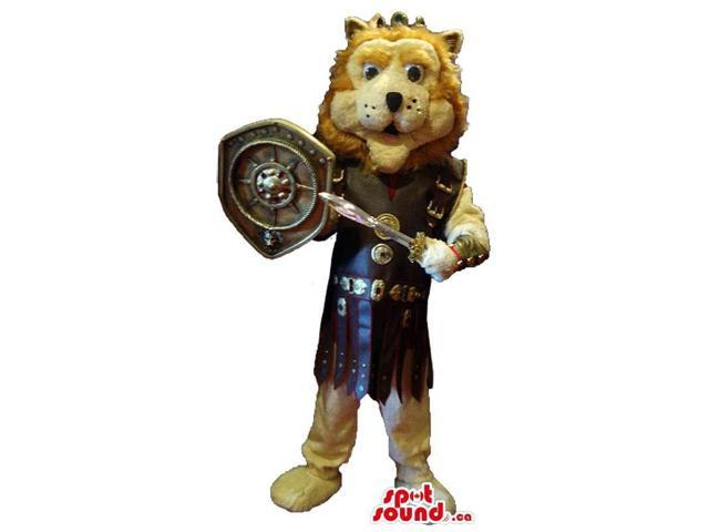 Lion Animal Canadian SpotSound Mascot Dressed In Gladiator Armour And Shield