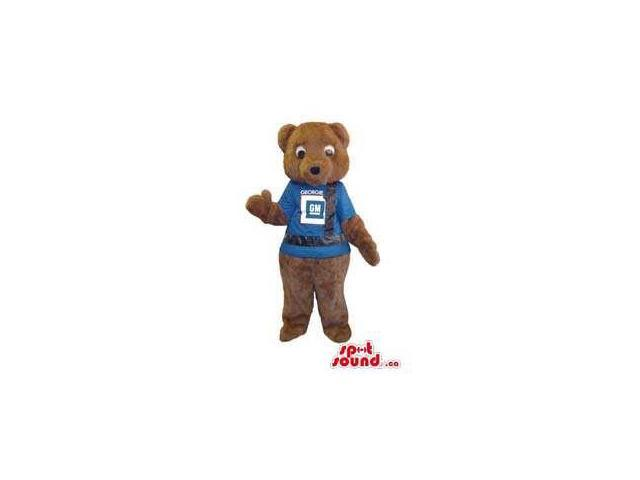 Brown Teddy Bear Plush Animal Canadian SpotSound Mascot Dressed In A Blue T-Shirt