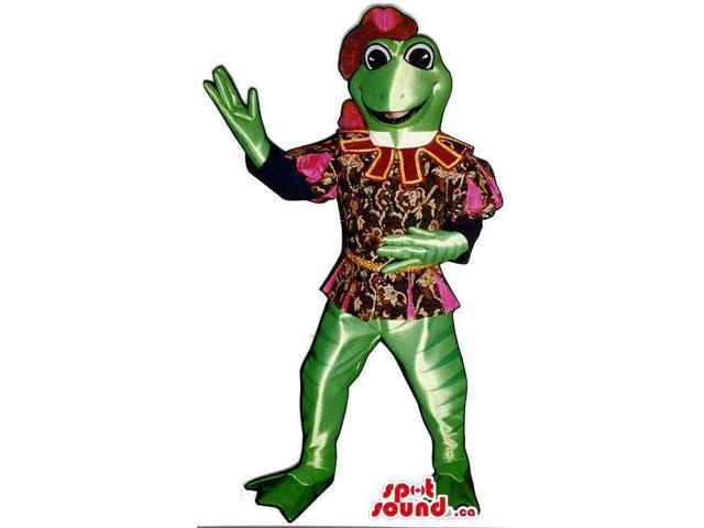 Green Frog Plush Canadian SpotSound Mascot Dressed In Medieval Troubadour Clothes