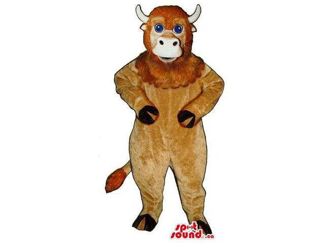 Brown Bull Animal Canadian SpotSound Mascot With Woolly Face And Blue Eyes