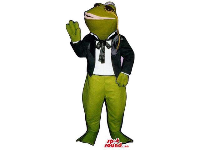 Green Frog Plush Canadian SpotSound Mascot Dressed In Old-Times Clothes And A Monocle