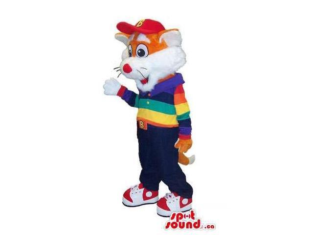 Orange And White Cat Canadian SpotSound Mascot With A Colourful Shirt And A Cap