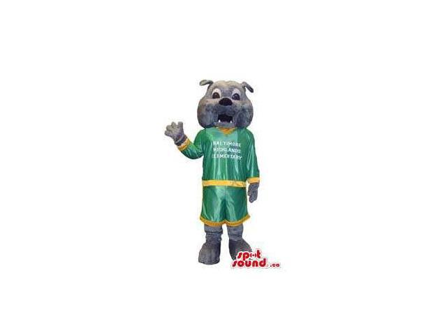 Friendly Grey Bulldog Canadian SpotSound Mascot Dressed In Green And Yellow Gear