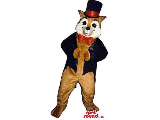 Fox Plush Canadian SpotSound Mascot Dressed In Elegant Clothes With A Top Hat