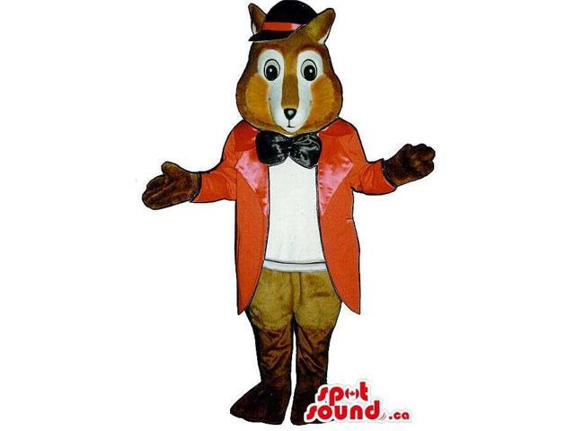 Fox Plush Canadian SpotSound Mascot Dressed In Elegant Long Red Jacket And A Bow Tie