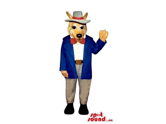 Ox Plush Canadian SpotSound Mascot Dressed In Gangster Long Red Jacket And A Bow Tie