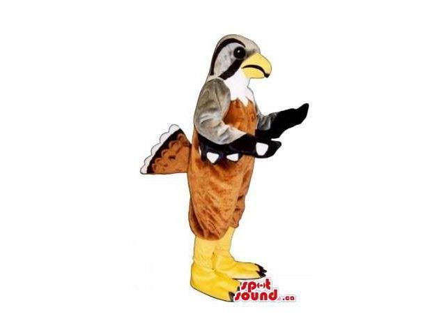 Brown And Grey Bird Wildlife Canadian SpotSound Mascot With Yellow Legs