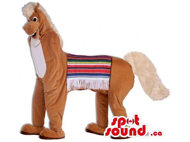 Brown And White Horse Canadian SpotSound Mascot With Colourful Saddle Cloth