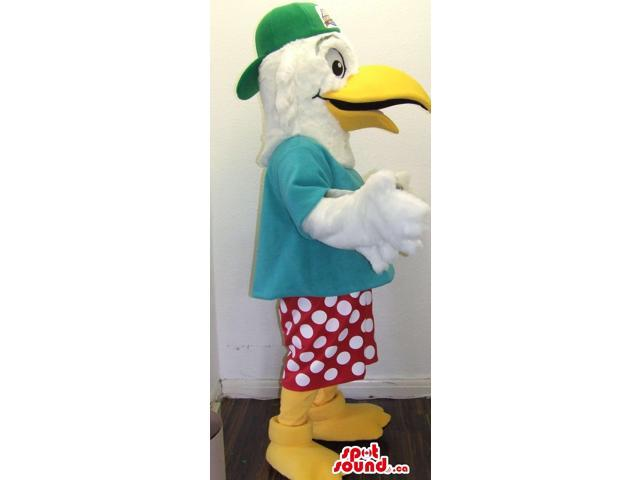 Cool White Bird Plush Canadian SpotSound Mascot Dressed In A Green Cap And Dots Shorts