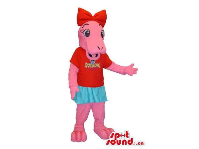 Pink Rhinoceros Girl Plush Canadian SpotSound Mascot Dressed In T-Shirt With A Logo