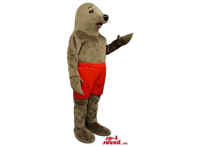 Customised Seal Animal Plush Canadian SpotSound Mascot Dressed In Red Shorts