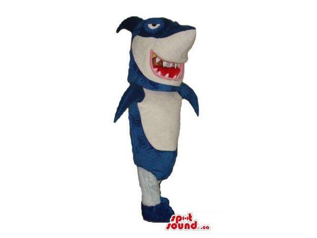 Blue And White Shark Plush Canadian SpotSound Mascot With Sharp Jaws