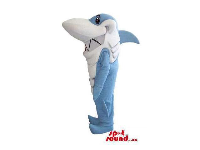 Blue And White Shark Plush Canadian SpotSound Mascot With Zigzag Jaws