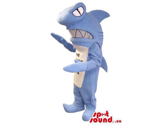 Hammerhead Shark Plush Canadian SpotSound Mascot With Zigzag Jaws And Text