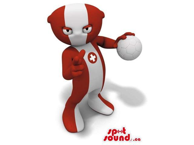 Red And White Plush Canadian SpotSound Mascot With A Large Stripe Carrying A Ball